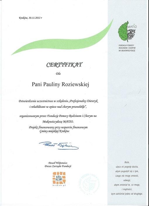 certyfikat Paulina Roziewska